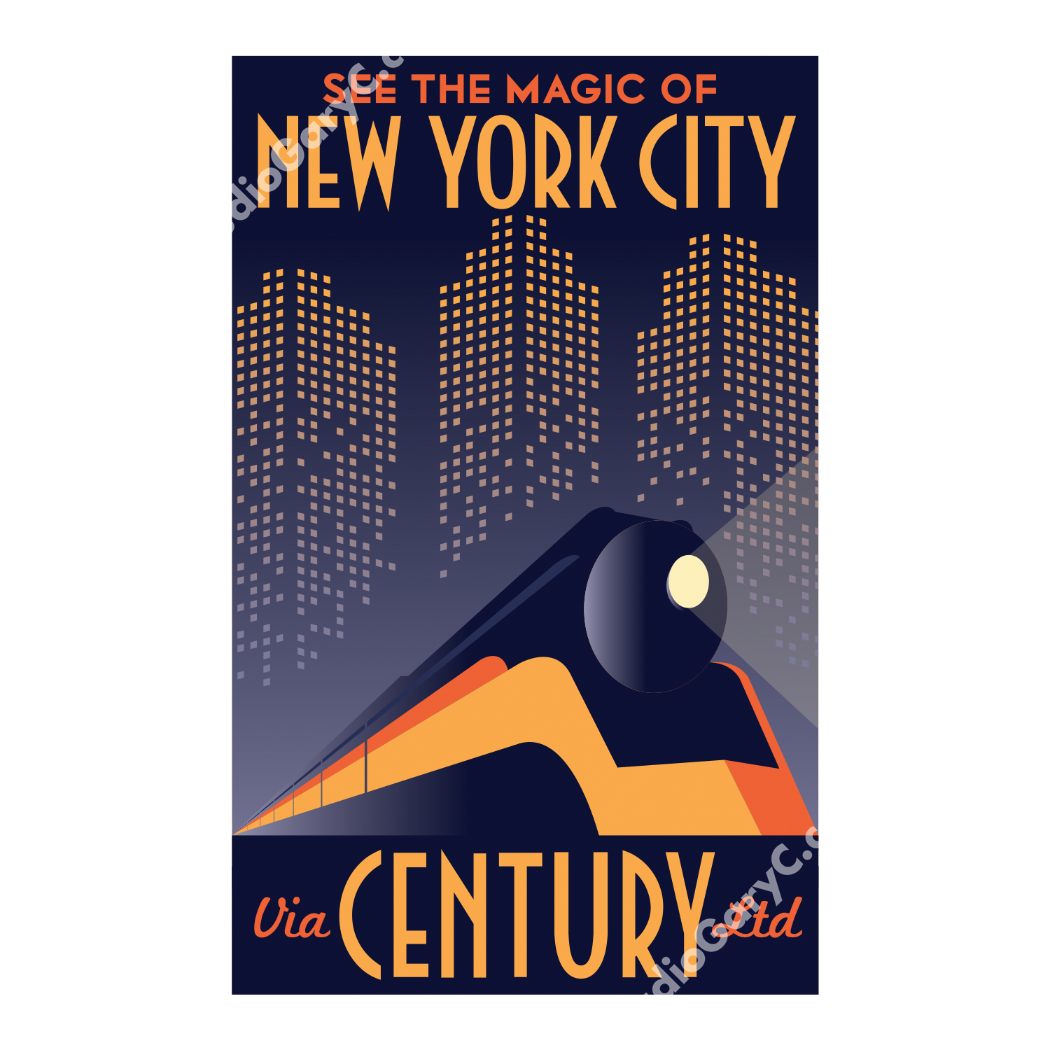 Art Deco Posters: Art Deco New York City Train Travel Poster